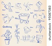 hand drawn gardening icons | Shutterstock . vector #95087383