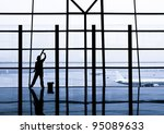 cleaning windows at the airport | Shutterstock . vector #95089633
