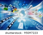 Internet for multimedia sharing. Conceptual image about how a computers with internet connect to worldwide information and multimedia sharing. - stock photo