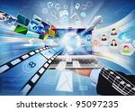 internet laptop. conceptual...   Shutterstock . vector #95097235