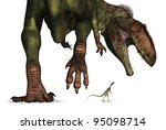 A tiny Compsognathus dinosaur looks up at a huge Giganotosaurus - 3d render. - stock photo