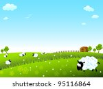 sunny meadow with sheep   Shutterstock .eps vector #95116864