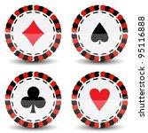 casino chips against white...   Shutterstock .eps vector #95116888