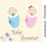 twins baby boy and girl | Shutterstock .eps vector #95141200