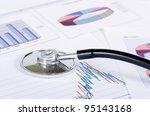 stethoscope on stock chart  ... | Shutterstock . vector #95143168