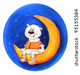 polar bear on the moon.... | Shutterstock . vector #95155384
