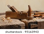 Wood Planer And Shavings At...