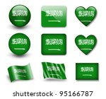 the saudi arabia flag   set of... | Shutterstock . vector #95166787