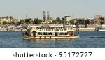 """View of a typical touristic ship on the river Nile at """"Luxor"""" in Egypt - stock photo"""