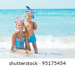 smiling happy brother and... | Shutterstock . vector #95175454