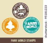 grunge farm stamps over beige... | Shutterstock .eps vector #95181223
