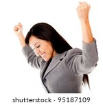 Successful businesswoman with arms up - isolated over a white background - stock photo