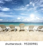 chairs on beach with blue sky... | Shutterstock . vector #95200981