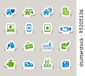 paper cut   real estate icons | Shutterstock .eps vector #95205136