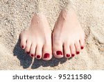 Female Feet With Red Pedicure...