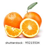 oranges with green leaf and... | Shutterstock . vector #95215534