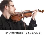 young man playing the violin. Isolated on white background - stock photo