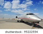 Silver Executive Jet - stock photo