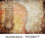 Grunge background with red guitar - stock photo
