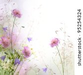Stock photo beautiful pastel floral border beautiful blurred background shallow depth of field 95254324