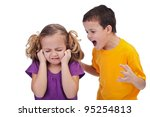 Quarreling kids - boy shouting at little girl, isolated - stock photo