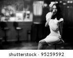 Retro Style Image. Smoking Lady ...