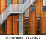metal stairs on a modern wooden ... | Shutterstock . vector #95264833