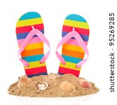 Colorful Striped Flip Flops At...