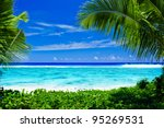 deserted tropical beach lagoon...   Shutterstock . vector #95269531