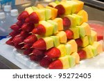 Cut Fruits On Sticks With...