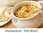chicken noodle soup in cream... | Shutterstock . vector #95278102