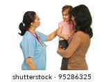 mother holding her little... | Shutterstock . vector #95286325