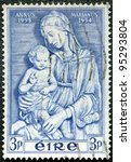 IRELAND - CIRCA 1954: A stamp printed in Ireland, shows Madonna by della Robbia, Marian Year, 1953-54, circa 1954 - stock photo