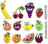 cartoon orange  banana  apples  ... | Shutterstock .eps vector #95299720