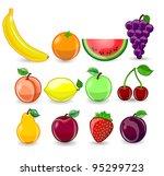 cartoon orange  banana  apples  ...   Shutterstock .eps vector #95299723