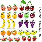 cartoon orange  banana  apples  ... | Shutterstock .eps vector #95299741
