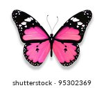 Stock photo pink butterfly isolated on white 95302369