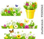 green grass with flowers set ... | Shutterstock . vector #95305063