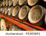 Row Of Wooden Beer Barrels. Xi...