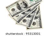 Four hundred dollars arranged on a white background - stock photo