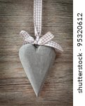 Wooden Heart On Grey Background