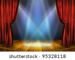 theater stage with red curtains ... | Shutterstock . vector #95328118