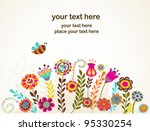 greeting card with flowers | Shutterstock .eps vector #95330254