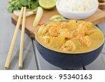 Udang Masak Lemak Nenas - Prawn & Pineapple Curry - Nyonya Cuisine: Malaysian prawn and pineapple in  spicy coconut milk gravy. - stock photo