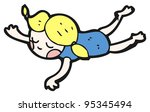 swimming girl cartoon | Shutterstock . vector #95345494
