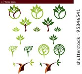 trees vector icons | Shutterstock .eps vector #95346541