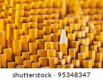one sharpened pencil among many ... | Shutterstock . vector #95348347