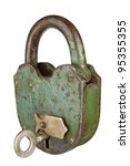 Old Padlock With Key On A Whit...
