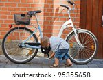 Cute Little Boy With Big Bike...