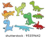 9 cute cartoon dinosaur | Shutterstock .eps vector #95359642